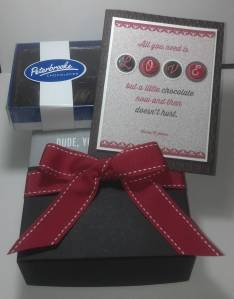 """This is the present I gave my husband for Valentine's Day, a box of chocolates and the """"Dude Your Welcome"""" card building set."""