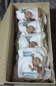 "This was my baby shower gift, 13 Onesies! I designed it on ""My Digital Studio"" and printed them on iron-on transfer paper. The first one says Just Born in Spanish ""Recien Nacido"". The next 12 have months 1 - 12 on them. An easy way to document each month with a picture!"