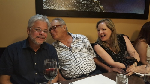 Rehearsal Dinner, my brother-in-law, my dad and my sister clowning around.