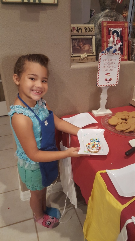 Reina's first cookie creation.